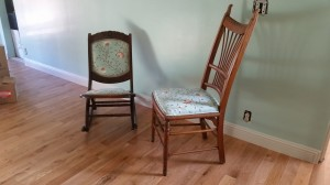 Reupholstered Rocker and Chair.