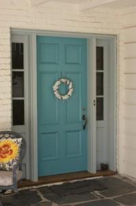 My front door in Sherwin Williams Cloud burst SW6487.
