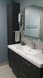 Master Bath Renovation with Walker Zanger Tile and IKEA tower and vanity