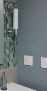 Close up of Walker Zanger Tozen Tile.  Wall color is Benjamin Moore, Cloudy Sky BM2122-30