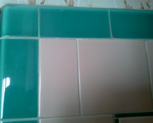 Turquoise And Pink Tile in Bathroom