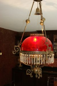Antique Red Brass Crystal Chandelier